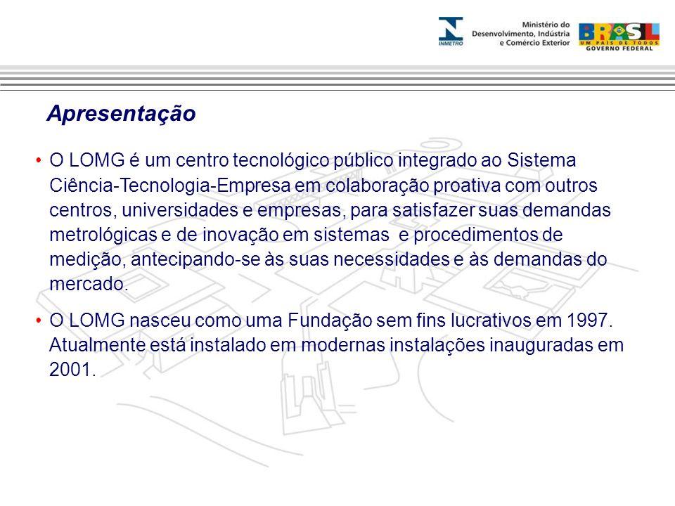 Apresentação •O LOMG é um centro tecnológico público integrado ao Sistema Ciência-Tecnologia-Empresa em colaboração proativa com outros centros, universidades e empresas, para satisfazer suas demandas metrológicas e de inovação em sistemas e procedimentos de medição, antecipando-se às suas necessidades e às demandas do mercado.