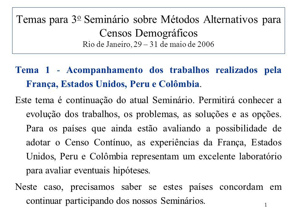 1 Temas para 3 o Seminário sobre Métodos Alternativos para Censos Demográficos Rio de Janeiro, 29 – 31 de maio de 2006 Tema 1 - Acompanhamento dos trabalhos realizados pela França, Estados Unidos, Peru e Colômbia.