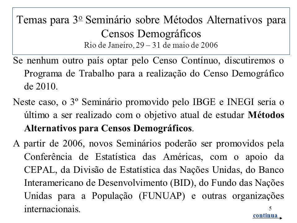 5 Temas para 3 o Seminário sobre Métodos Alternativos para Censos Demográficos Rio de Janeiro, 29 – 31 de maio de 2006 Se nenhum outro país optar pelo Censo Contínuo, discutiremos o Programa de Trabalho para a realização do Censo Demográfico de 2010.