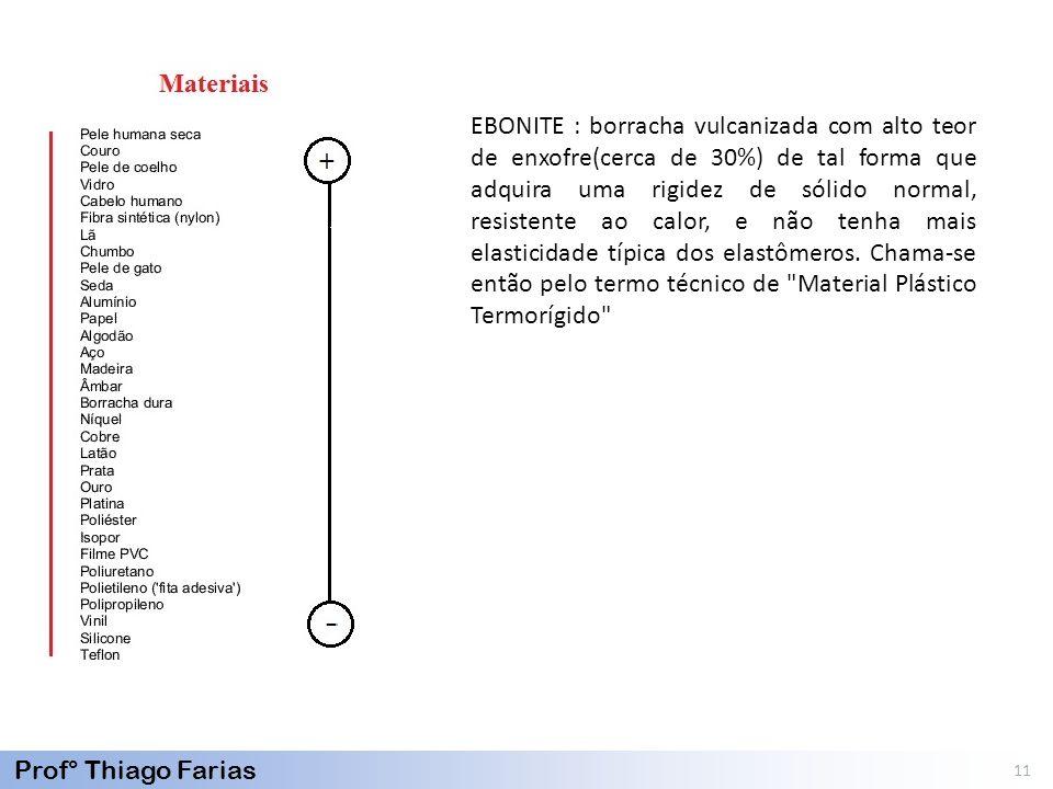Prof° Thiago Farias 11 EBONITE : borracha vulcanizada com alto teor de enxofre(cerca de 30%) de tal forma que adquira uma rigidez de sólido normal, re