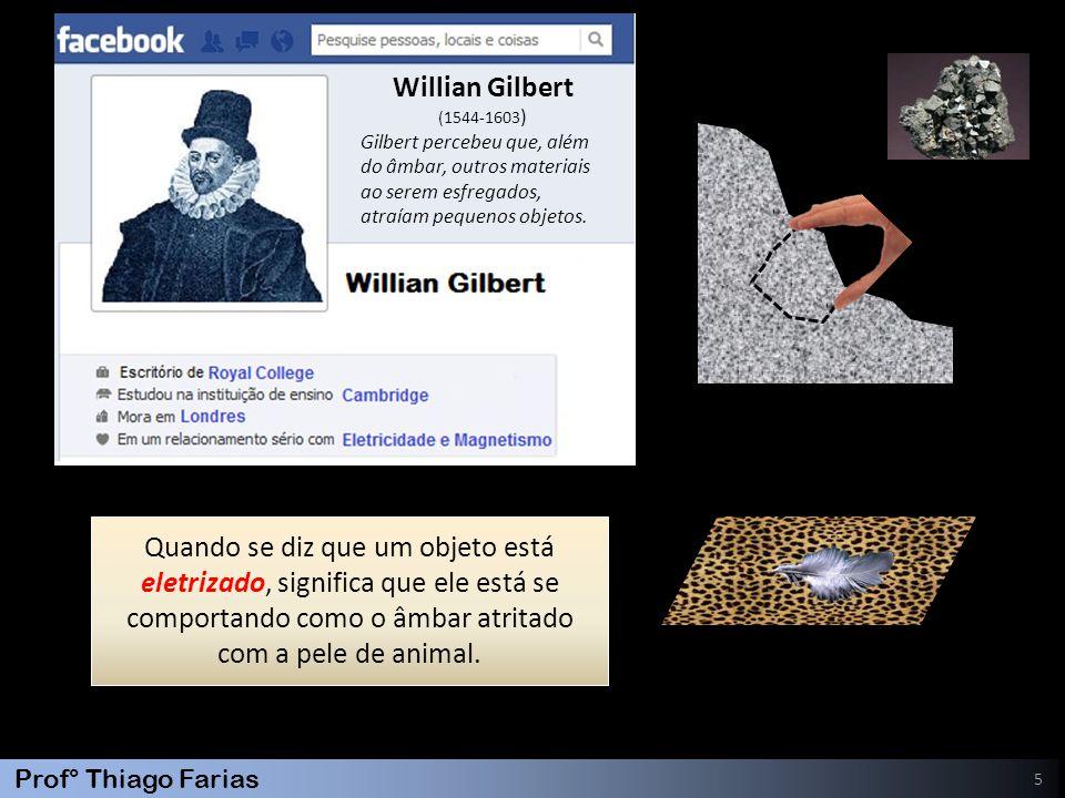 Prof° Thiago Farias 5 Quando se diz que um objeto está eletrizado, significa que ele está se comportando como o âmbar atritado com a pele de animal. W