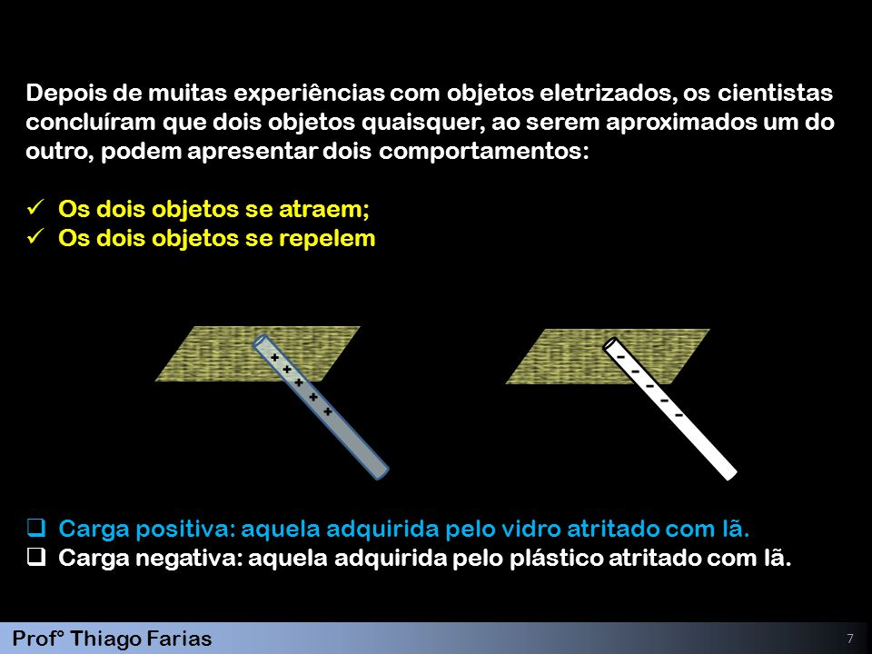 7 Depois de muitas experiências com objetos eletrizados, os cientistas concluíram que dois objetos quaisquer, ao serem aproximados um do outro, podem