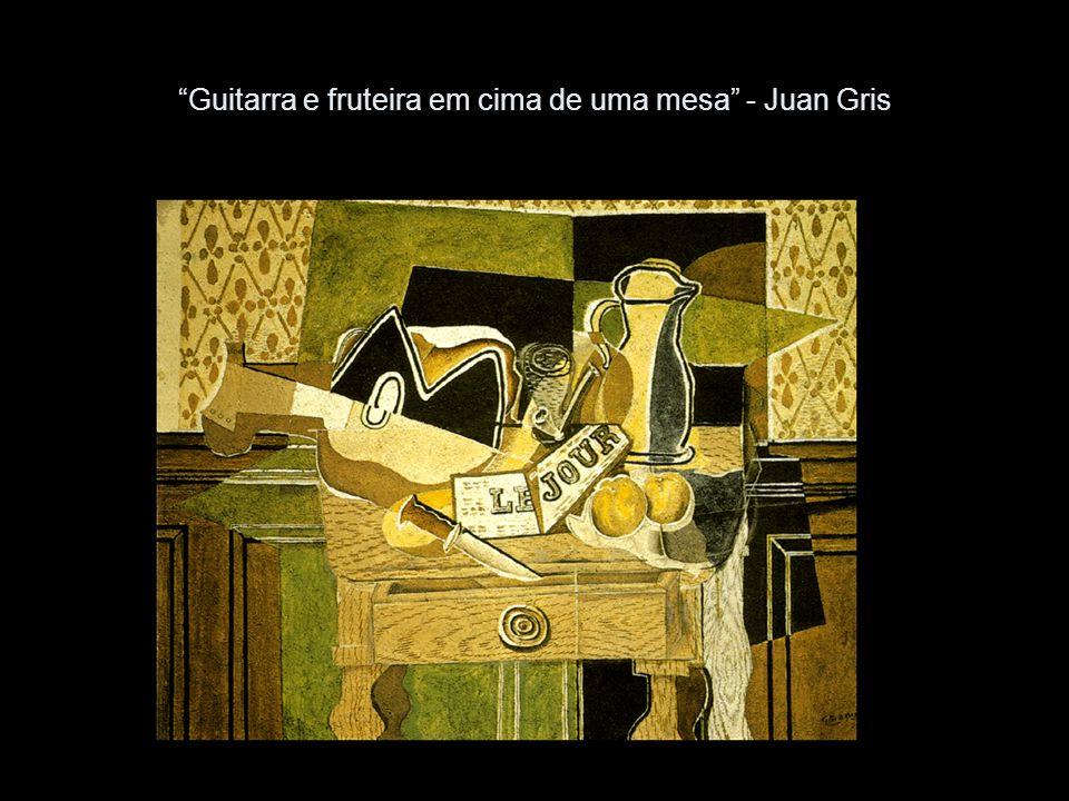 Guitarra e fruteira em cima de uma mesa - Juan Gris
