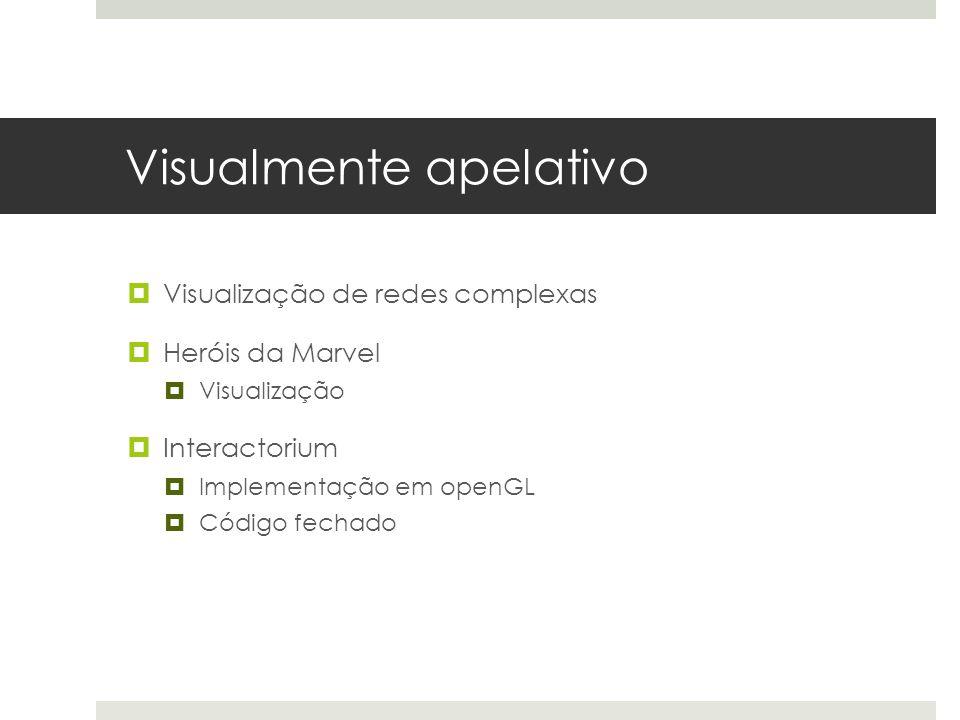 Visualmente apelativo  Visualização de redes complexas  Heróis da Marvel  Visualização  Interactorium  Implementação em openGL  Código fechado
