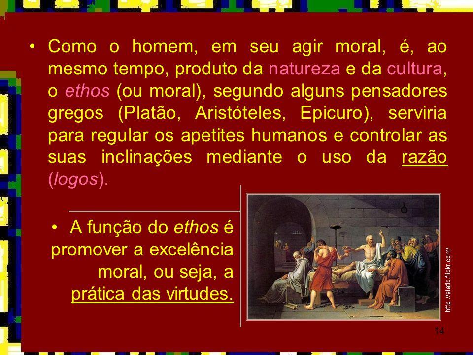 14 •Como o homem, em seu agir moral, é, ao mesmo tempo, produto da natureza e da cultura, o ethos (ou moral), segundo alguns pensadores gregos (Platão