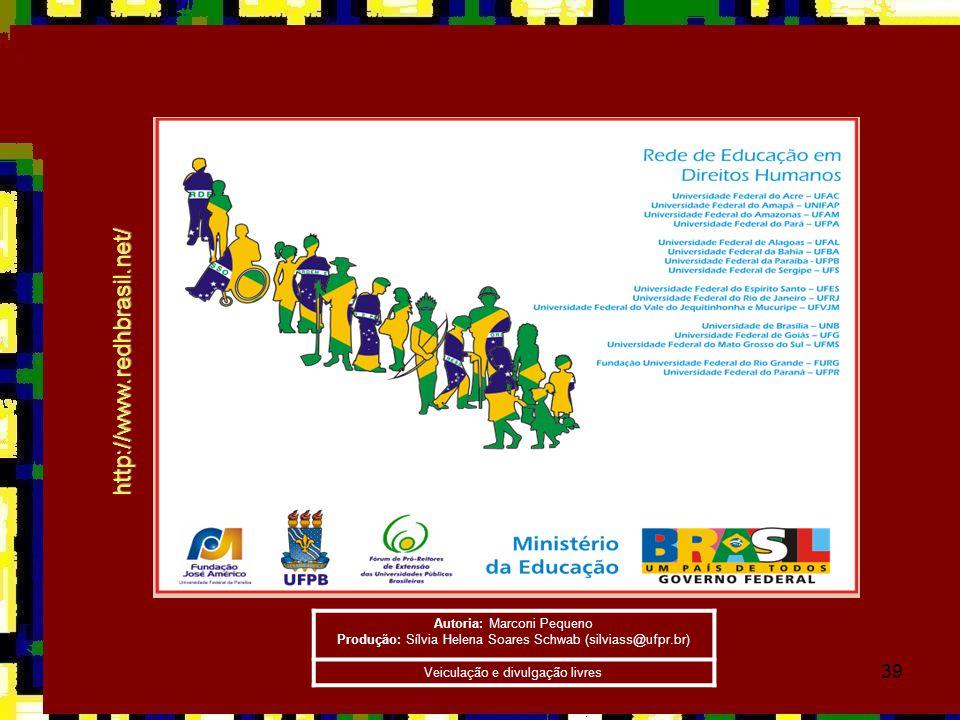 39 http://www.redhbrasil.net/ Autoria: Marconi Pequeno Produção: Sílvia Helena Soares Schwab (silviass@ufpr.br) Veiculação e divulgação livres
