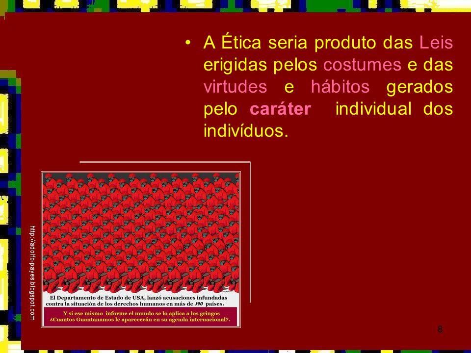 8 •A Ética seria produto das Leis erigidas pelos costumes e das virtudes e hábitos gerados pelo caráter individual dos indivíduos. http://adolfo-payes