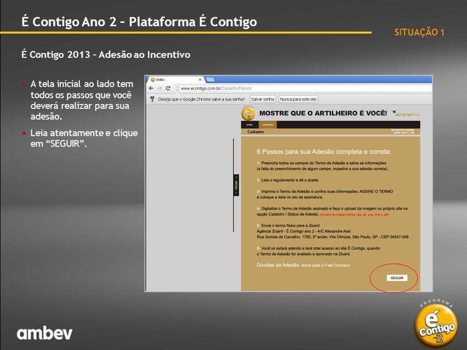 É Contigo 2013 – Adesão ao Incentivo É Contigo Ano 2 – Plataforma É Contigo • Em seguida, o site abrirá a tela de cadastro.