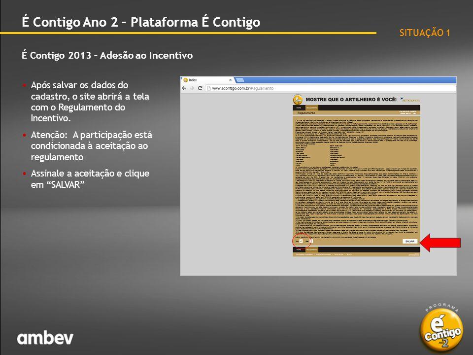 É Contigo 2013 – Adesão ao Incentivo É Contigo Ano 2 – Plataforma É Contigo • Após a aceitação do regulamento, o site abrirá esta tela, que é o seu Cadastro de Participação.