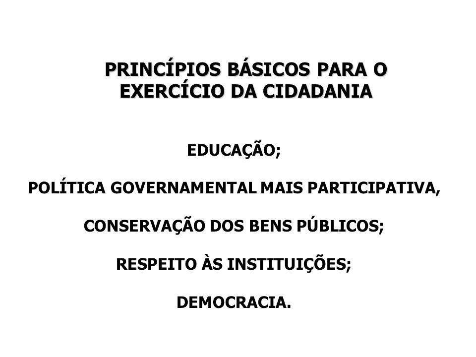 PRINCÍPIOS BÁSICOS PARA O EXERCÍCIO DA CIDADANIA EDUCAÇÃO; POLÍTICA GOVERNAMENTAL MAIS PARTICIPATIVA, CONSERVAÇÃO DOS BENS PÚBLICOS; RESPEITO ÀS INSTI