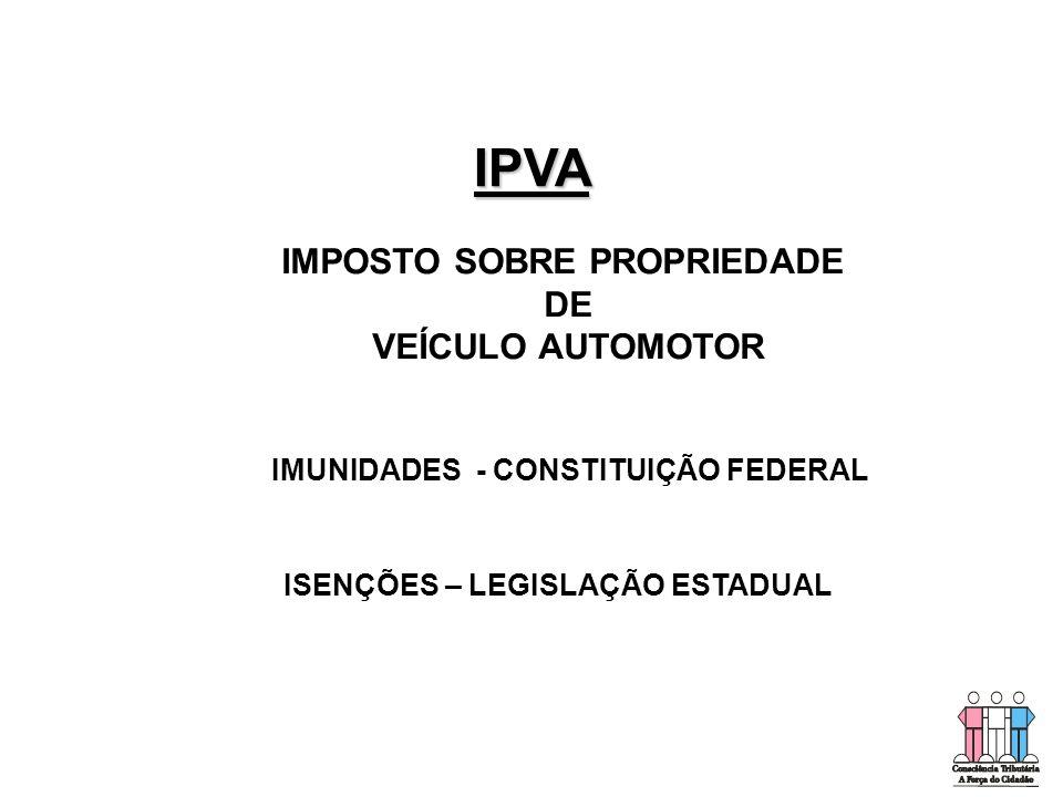 IMUNIDADES - CONSTITUIÇÃO FEDERAL ISENÇÕES – LEGISLAÇÃO ESTADUAL IMPOSTO SOBRE PROPRIEDADE DE VEÍCULO AUTOMOTOR IPVA