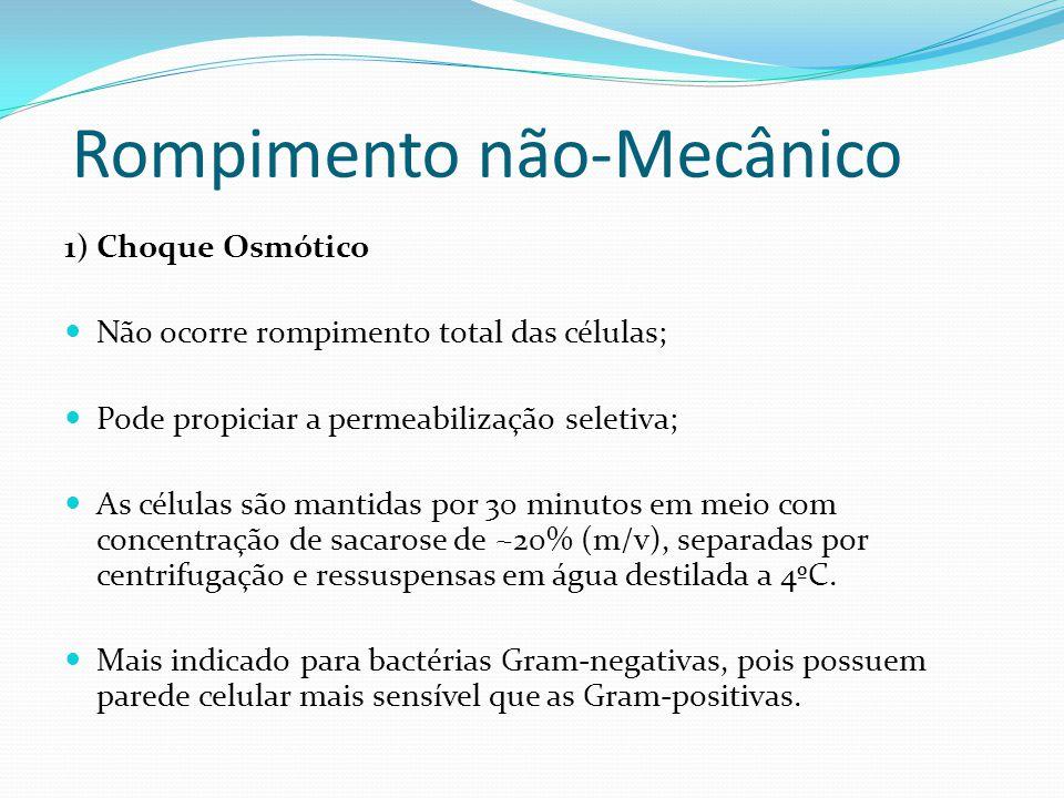 Rompimento não-Mecânico 1) Choque Osmótico  Não ocorre rompimento total das células;  Pode propiciar a permeabilização seletiva;  As células são ma