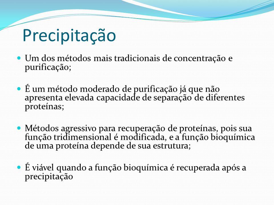  Um dos métodos mais tradicionais de concentração e purificação;  É um método moderado de purificação já que não apresenta elevada capacidade de sep