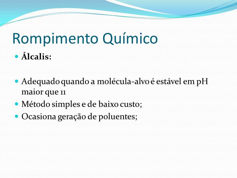 Rompimento Químico  Detergentes:  São capazes de dissociar proteínas e lipoproteínas das paredes celulares, provocando a formação de poros e liberar a molécula-alvo;  A célula pode ser totalmente rompida;  Ex.: lauril sulfato de sódio, Triton, etc.