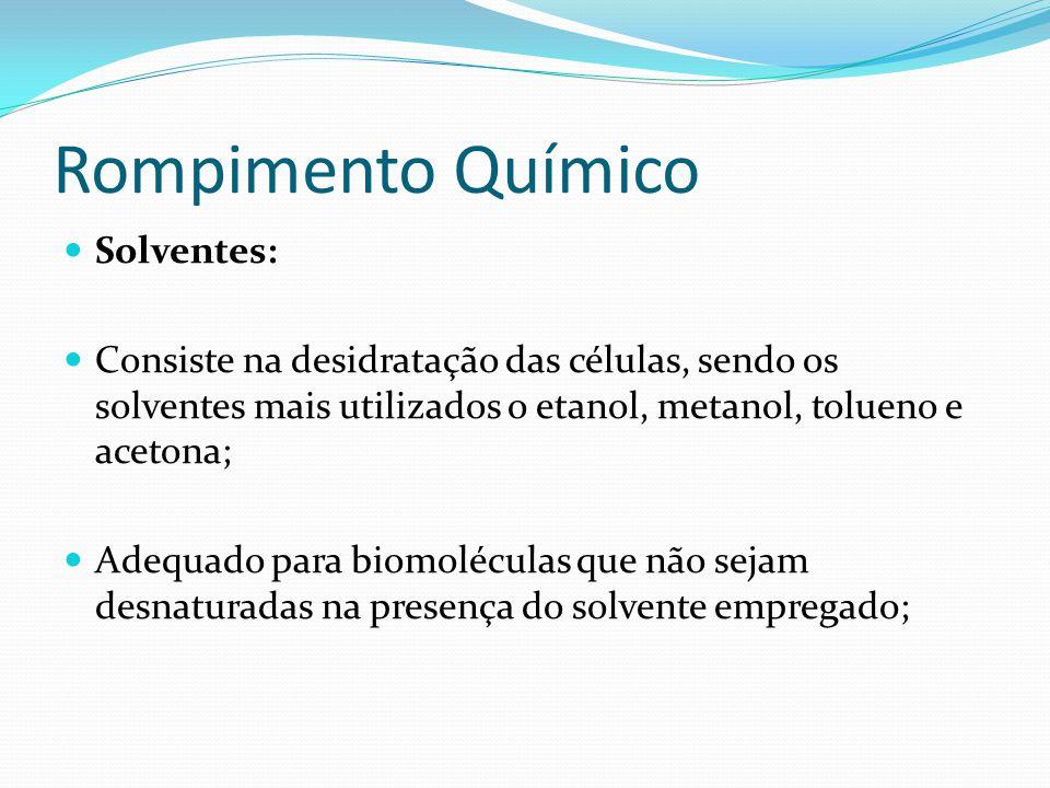 Rompimento Químico  Solventes:  Consiste na desidratação das células, sendo os solventes mais utilizados o etanol, metanol, tolueno e acetona;  Ade