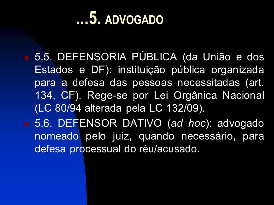 ...5. ADVOGADO  5.5. DEFENSORIA PÚBLICA (da União e dos Estados e DF): instituição pública organizada para a defesa das pessoas necessitadas (art. 13