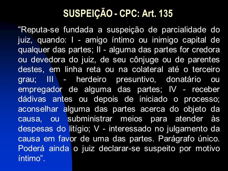 """SUSPEIÇÃO - CPC: Art. 135 """" Reputa-se fundada a suspeição de parcialidade do juiz, quando: I - amigo íntimo ou inimigo capital de qualquer das partes;"""