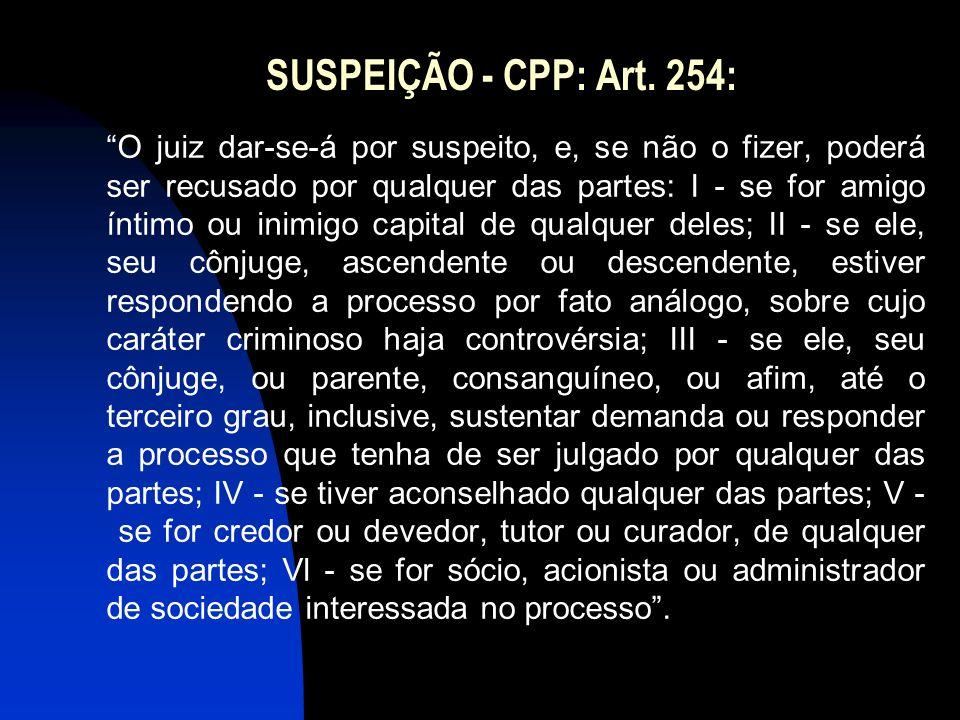 """SUSPEIÇÃO - CPP: Art. 254: """"O juiz dar-se-á por suspeito, e, se não o fizer, poderá ser recusado por qualquer das partes: I - se for amigo íntimo ou i"""