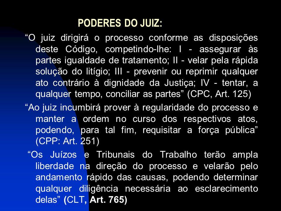 """PODERES DO JUIZ: """"O juiz dirigirá o processo conforme as disposições deste Código, competindo-lhe: I - assegurar às partes igualdade de tratamento; II"""