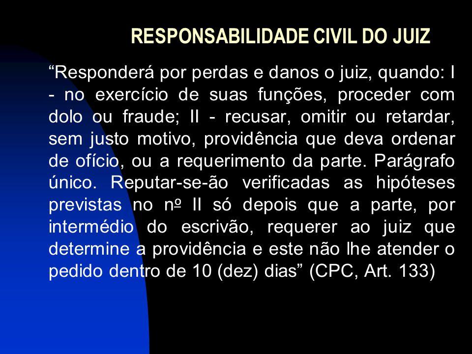"""RESPONSABILIDADE CIVIL DO JUIZ """"Responderá por perdas e danos o juiz, quando: I - no exercício de suas funções, proceder com dolo ou fraude; II - recu"""
