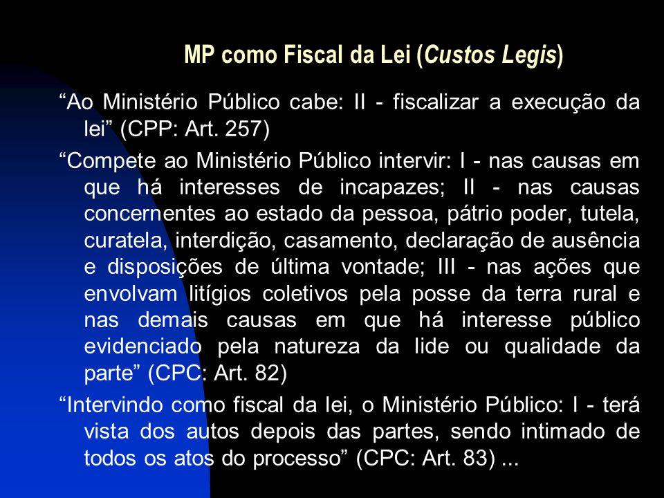 """MP como Fiscal da Lei ( Custos Legis ) """"Ao Ministério Público cabe: II - fiscalizar a execução da lei"""" (CPP: Art. 257) """"Compete ao Ministério Público"""