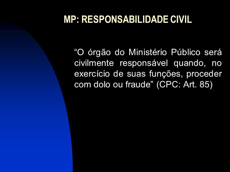 MP: RESPONSABILIDADE CIVIL O órgão do Ministério Público será civilmente responsável quando, no exercício de suas funções, proceder com dolo ou fraude (CPC: Art.