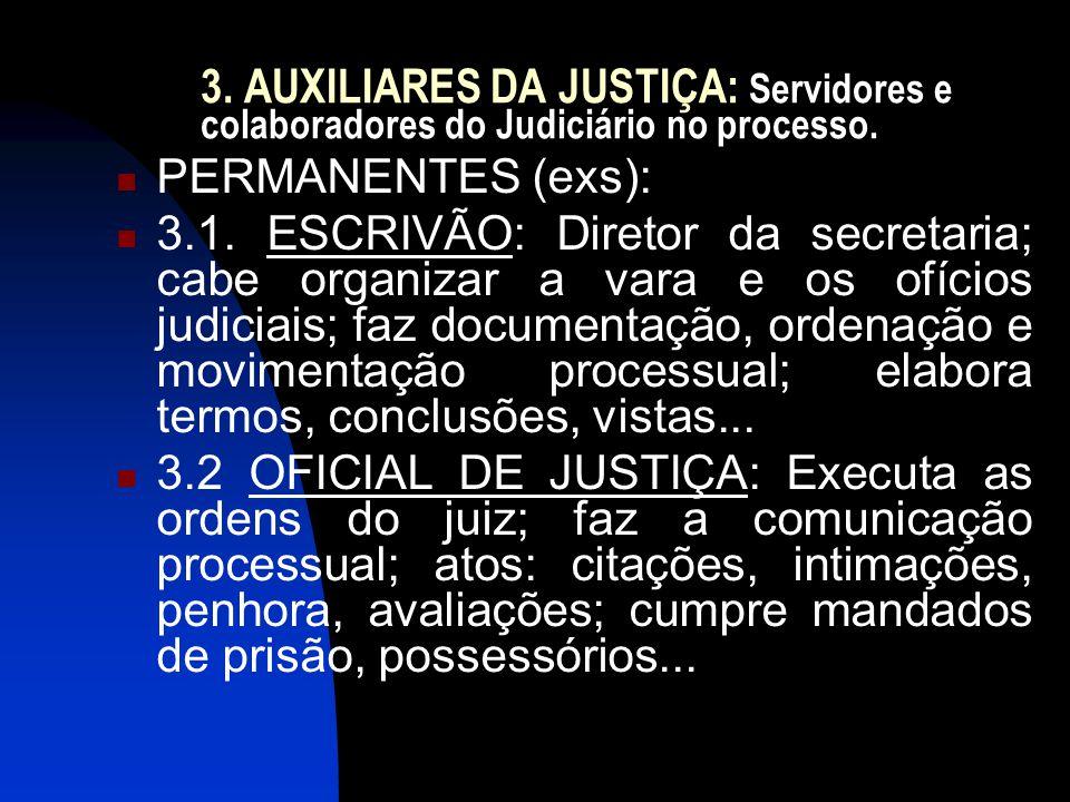 3. AUXILIARES DA JUSTIÇA: Servidores e colaboradores do Judiciário no processo.  PERMANENTES (exs):  3.1. ESCRIVÃO: Diretor da secretaria; cabe orga