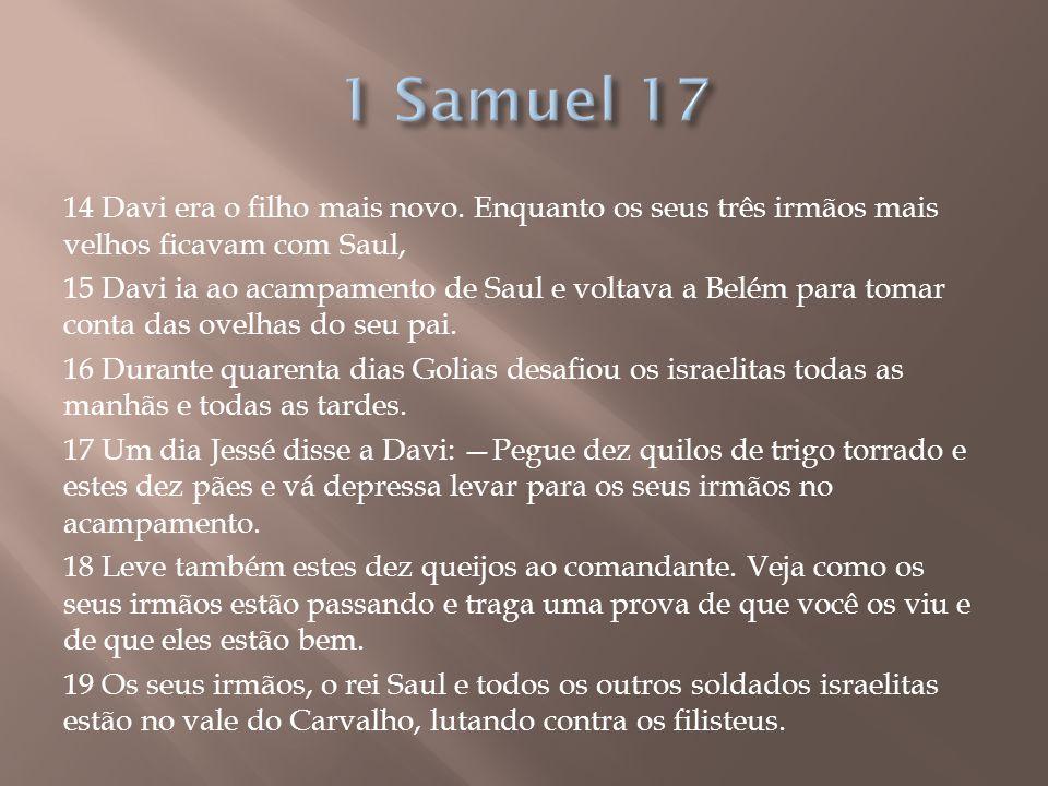 14 Davi era o filho mais novo. Enquanto os seus três irmãos mais velhos ficavam com Saul, 15 Davi ia ao acampamento de Saul e voltava a Belém para tom