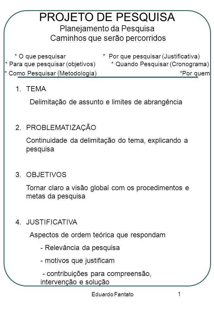 Eduardo Fantato 1 PROJETO DE PESQUISA Planejamento da Pesquisa Caminhos que serão percorridos * O que pesquisar * Por que pesquisar (Justificativa) *