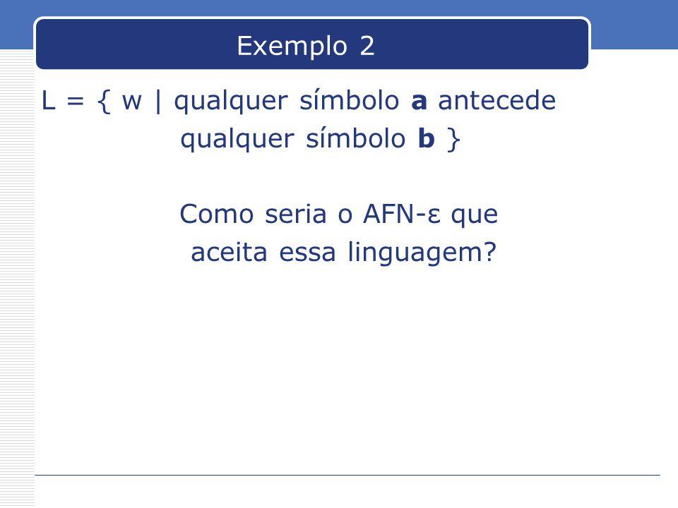 Exemplo 2 L = { w | qualquer símbolo a antecede qualquer símbolo b } Como seria o AFN-ε que aceita essa linguagem?