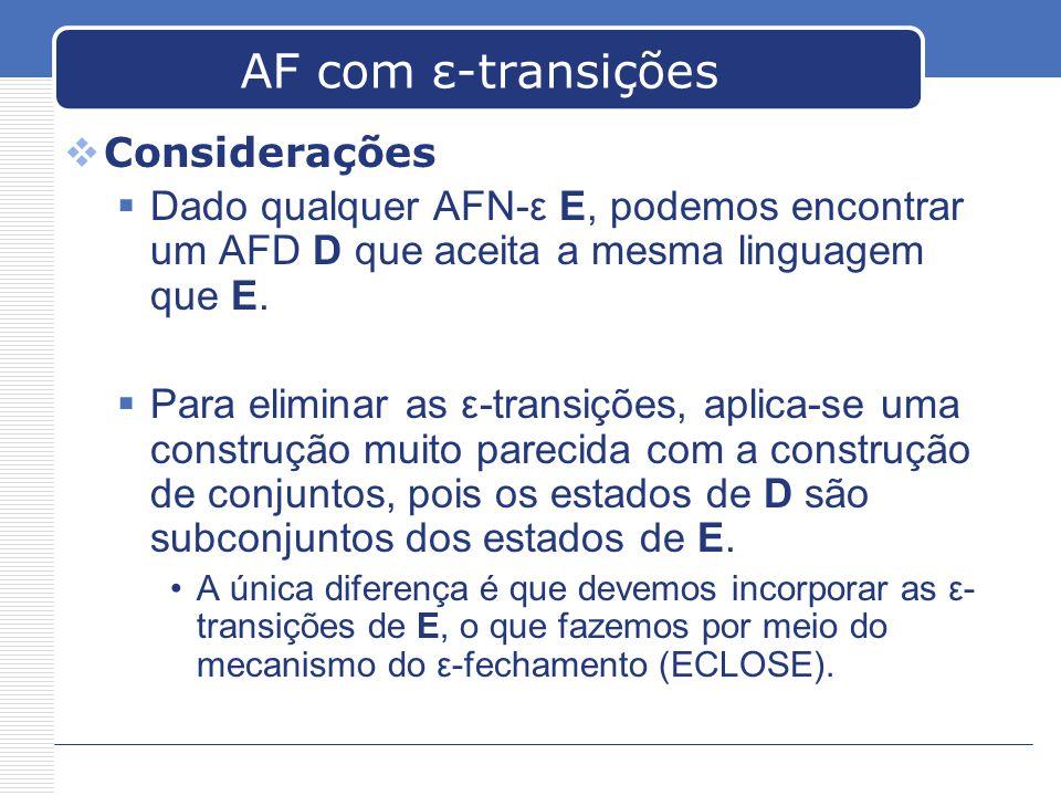 AF com ε-transições  Considerações  Dado qualquer AFN-ε E, podemos encontrar um AFD D que aceita a mesma linguagem que E.