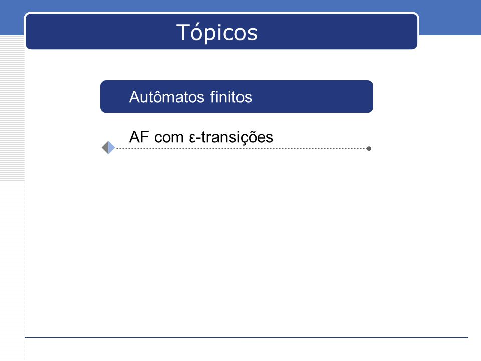 Tópicos AF com ε-transições Autômatos finitos