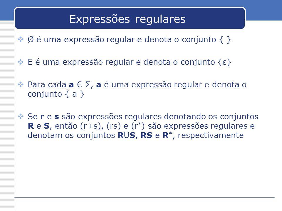 Expressões regulares  Ø é uma expressão regular e denota o conjunto { }  Ε é uma expressão regular e denota o conjunto {ε}  Para cada a Є Σ, a é uma expressão regular e denota o conjunto { a }  Se r e s são expressões regulares denotando os conjuntos R e S, então (r+s), (rs) e (r * ) são expressões regulares e denotam os conjuntos RUS, RS e R *, respectivamente