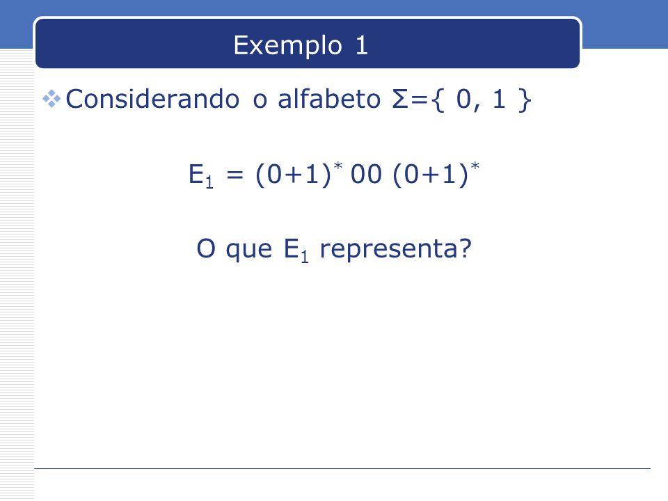Exemplo 1  Considerando o alfabeto Σ={ 0, 1 } E 1 = (0+1) * 00 (0+1) * O que E 1 representa?