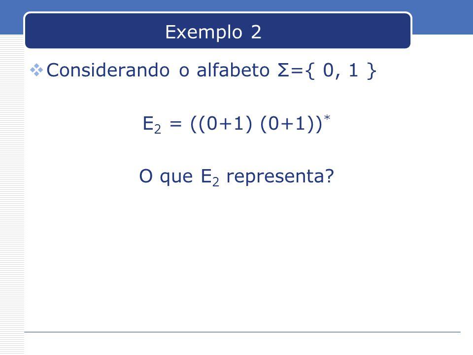 Exemplo 2  Considerando o alfabeto Σ={ 0, 1 } E 2 = ((0+1) (0+1)) * O que E 2 representa?