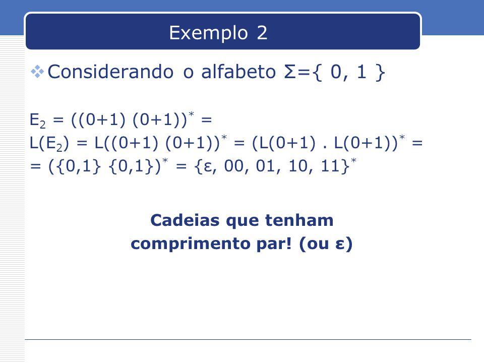 Exemplo 2  Considerando o alfabeto Σ={ 0, 1 } E 2 = ((0+1) (0+1)) * = L(E 2 ) = L((0+1) (0+1)) * = (L(0+1).