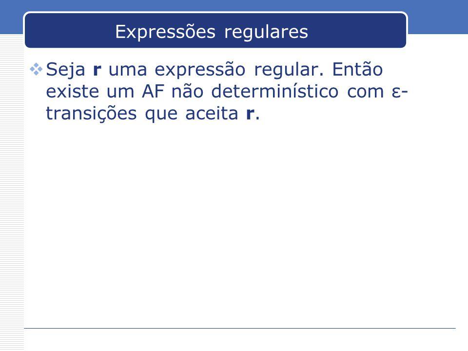 Expressões regulares  Seja r uma expressão regular.