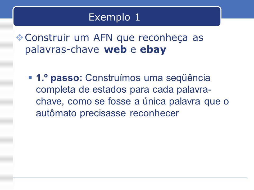 Exemplo 1  Construir um AFN que reconheça as palavras-chave web e ebay  1.º passo: Construímos uma seqüência completa de estados para cada palavra- chave, como se fosse a única palavra que o autômato precisasse reconhecer