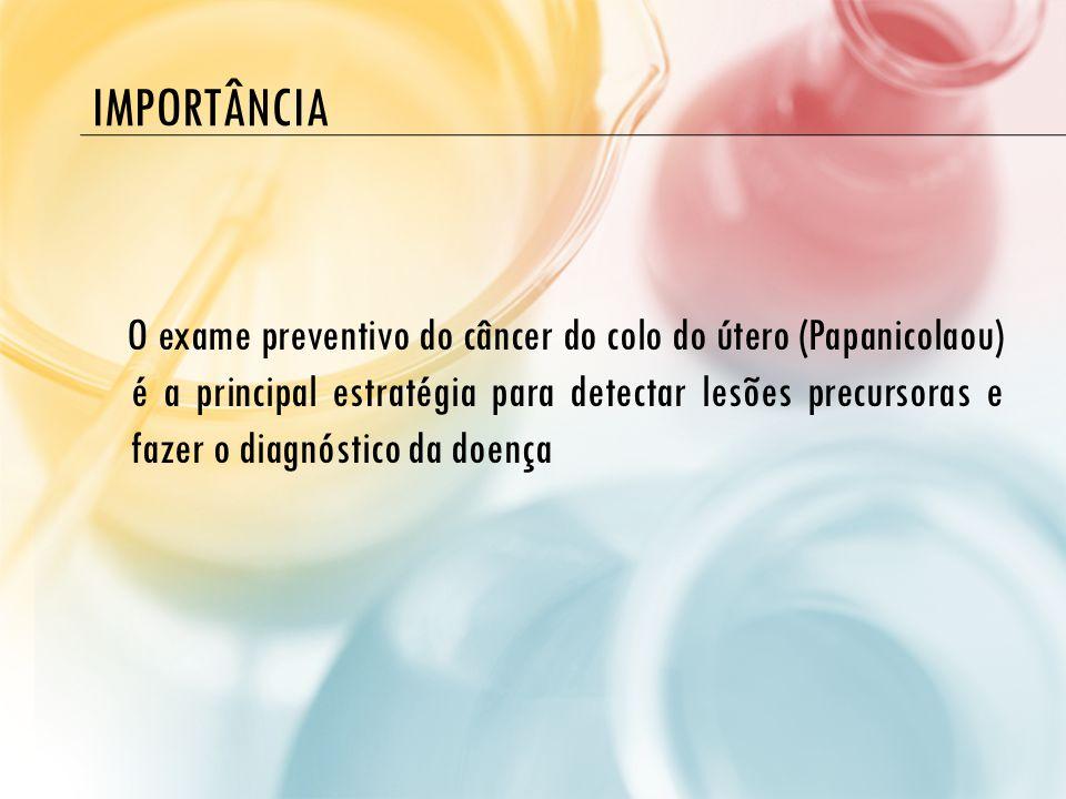 IMPORTÂNCIA O exame preventivo do câncer do colo do útero (Papanicolaou) é a principal estratégia para detectar lesões precursoras e fazer o diagnósti