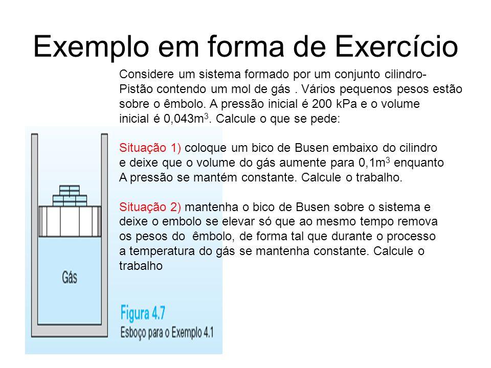 Exemplo em forma de Exercício Considere um sistema formado por um conjunto cilindro- Pistão contendo um mol de gás. Vários pequenos pesos estão sobre