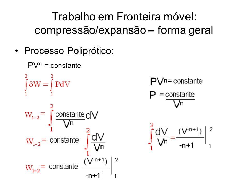 Trabalho em Fronteira móvel: compressão/expansão – forma geral •Processo Poliprótico: PV n = constante