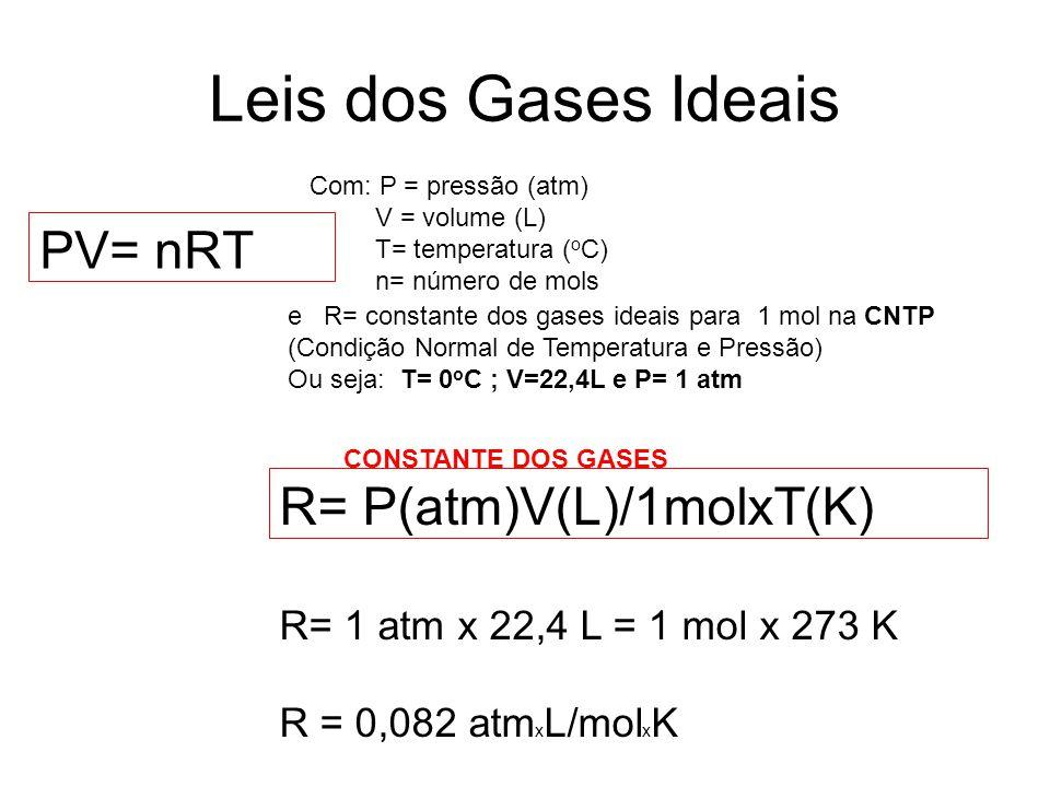 Leis dos Gases Ideais PV= nRT e R= constante dos gases ideais para 1 mol na CNTP (Condição Normal de Temperatura e Pressão) Ou seja: T= 0 o C ; V=22,4