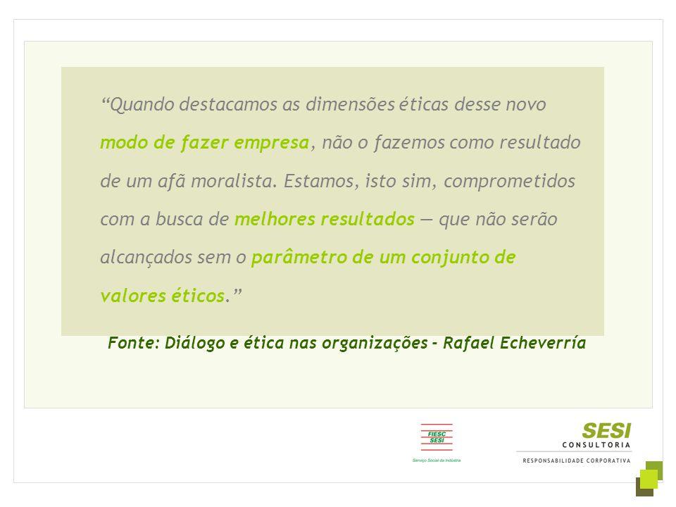 """Fonte: Diálogo e ética nas organizações - Rafael Echeverría """"Quando destacamos as dimensões éticas desse novo modo de fazer empresa, não o fazemos com"""