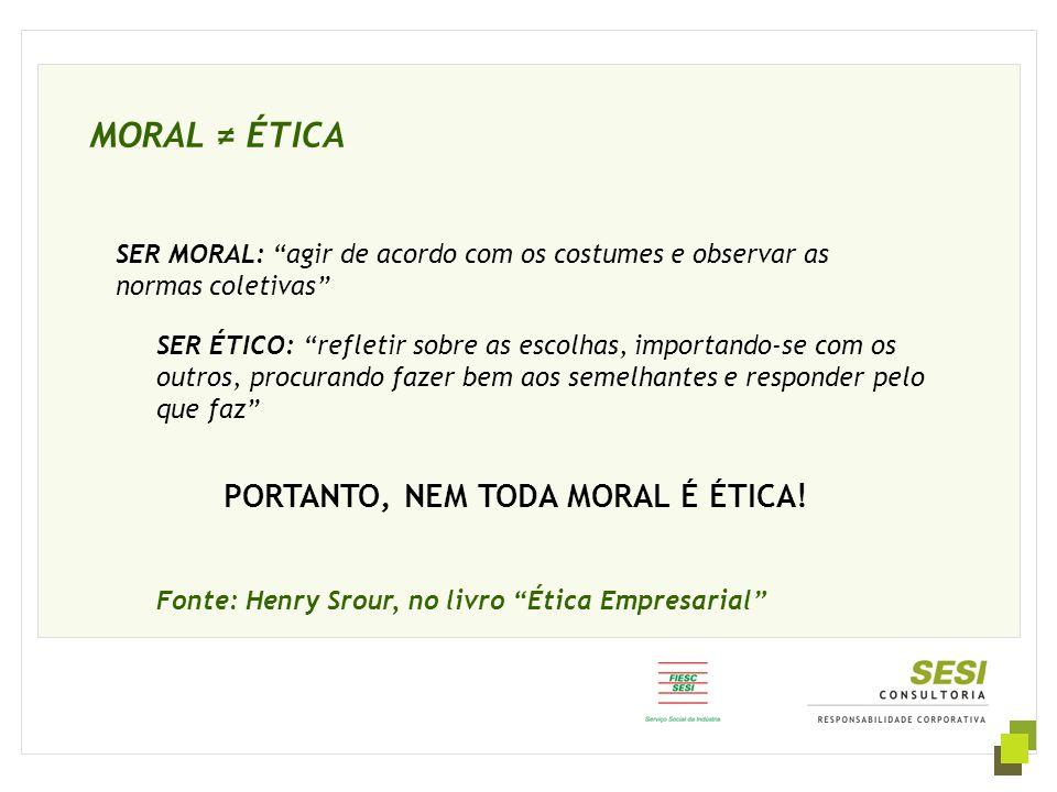 """MORAL ≠ ÉTICA Fonte: Henry Srour, no livro """"Ética Empresarial"""" SER ÉTICO: """"refletir sobre as escolhas, importando-se com os outros, procurando fazer b"""