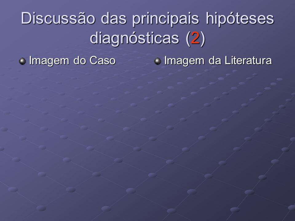 Discussão das principais hipóteses diagnósticas (2) Imagem do Caso Imagem da Literatura