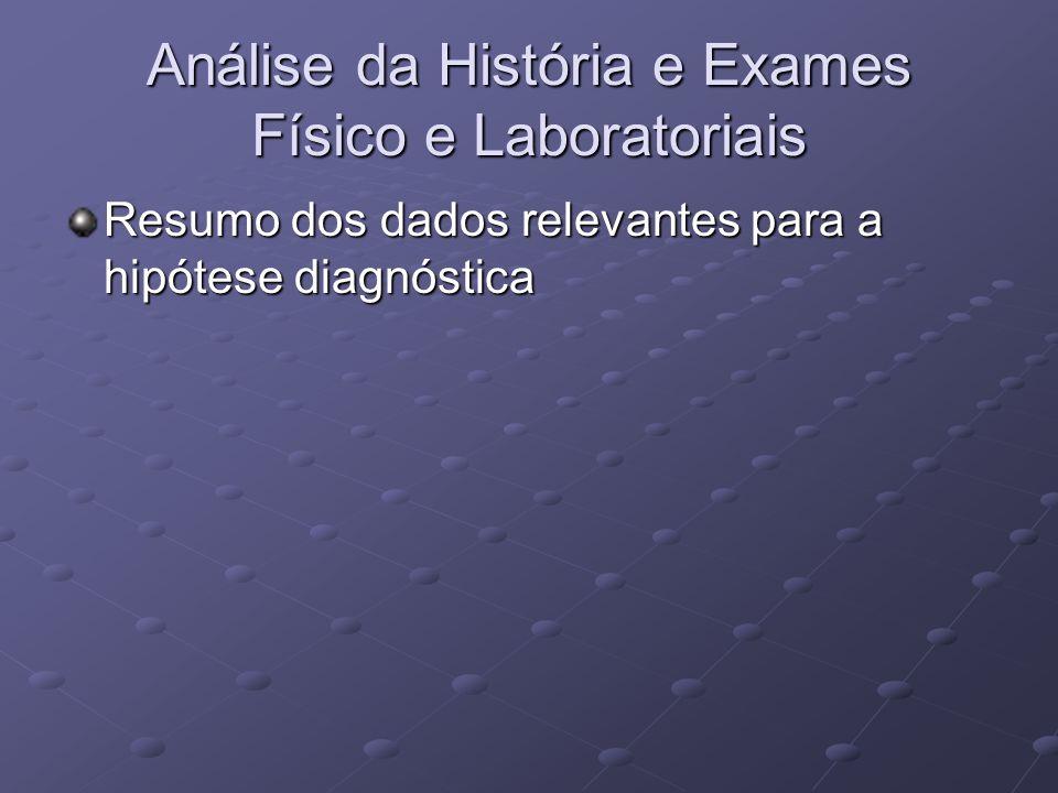 Análise da História e Exames Físico e Laboratoriais Resumo dos dados relevantes para a hipótese diagnóstica