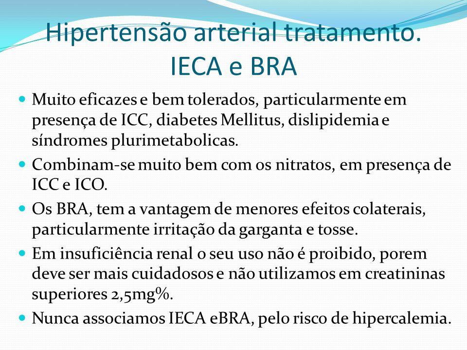  Muito eficazes e bem tolerados, particularmente em presença de ICC, diabetes Mellitus, dislipidemia e síndromes plurimetabolicas.  Combinam-se muit
