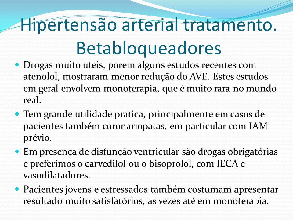 Hipertensão arterial tratamento. Betabloqueadores  Drogas muito uteis, porem alguns estudos recentes com atenolol, mostraram menor redução do AVE. Es