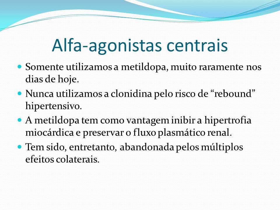 """Alfa-agonistas centrais  Somente utilizamos a metildopa, muito raramente nos dias de hoje.  Nunca utilizamos a clonidina pelo risco de """"rebound"""" hip"""