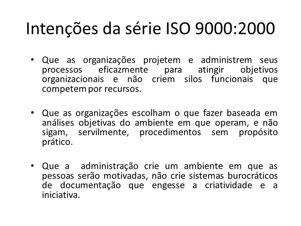 Intenções da série ISO 9000:2000 • Que as organizações projetem e administrem seus processos eficazmente para atingir objetivos organizacionais e não
